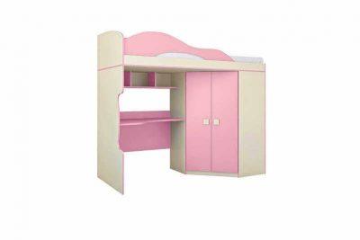 Радуга Кровать 2 этаж + шкаф  цвет Фламинго (Пу 6)