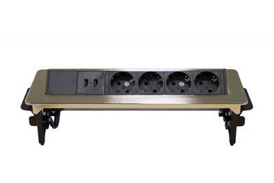 Блок розеток 47  встраиваемый , 3 секции серебро полуавт -й 276*93 мм  2USB