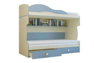 Радуга Кровать 2 этаж + тахта цвет Василёк (Я500-2)