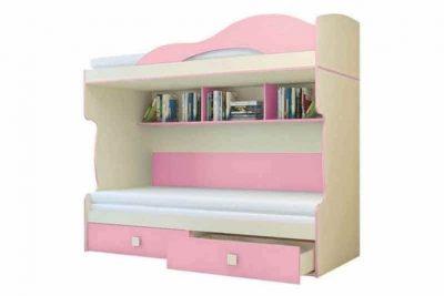 Радуга Кровать 2 этаж + тахта цвет Фламинго (Я500-2)